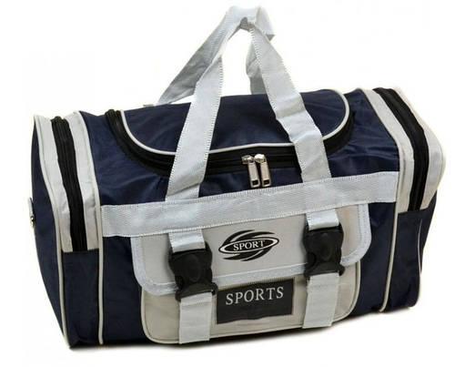 Прочная сумка спортивно-дорожная 15 л. 744-A blue синий с белым