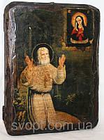 """Икона под старину """"Серафим Саровский, моление на камне"""""""