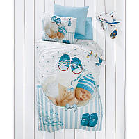 Детский 3D комплект постельного белья для новорожденных в кроватку,в коробке, сатин, Deco Bianca Тур