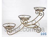 Кованная подставка для цветов на 3 вазона (санки)