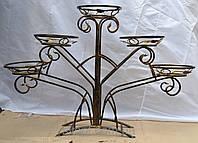 Кованная подставка для цветов на 5 вазонов (павлин)