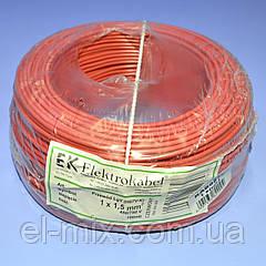 Провід монтажний мідний LgY 1*1,5 мм. кв H07V-K Elektrokabel червоний KAB0870 / бухта 100м