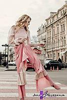 Женские многослойные, расклешенные, плиссированные брюки на подкладке
