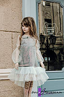 Детский комплект из 2-х изделий: платье-футляр с геометрической проймой, длиной выше колен
