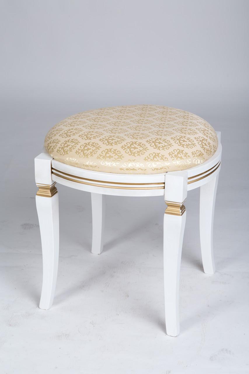 Банкетка круглая Микс мебель, цвет белый + патина