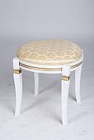 Банкетка круглая деревянная для спальни иприхожей Микс мебель, цвет белый + патина