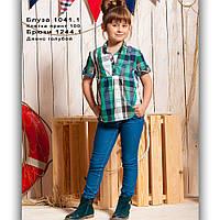 Свободная детская хлопковая блуза в клетку