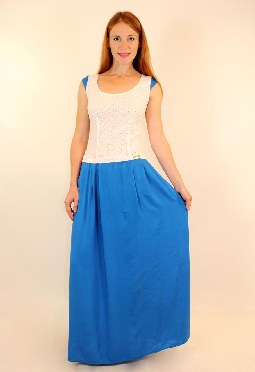 Летнее платье с расклешенной юбкой 44-48 р ( штапель плюс прошва )