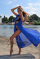 Пляжный халат в пол ярко-синий