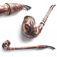 Трубка Гусар с кожей Кленовый лист резной