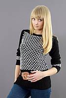 Черно-белый свитер модной вязки