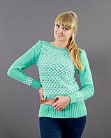 Мятный свитер с контрастным поясом