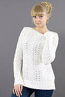 Нарядный женский свитер с вырезом лодочка