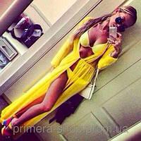 Пляжный халат в пол желтый
