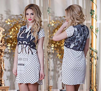 """Летнее женское стильное короткое платье до XL 3240 """"Лакост Воротничок"""""""