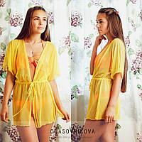 Пляжный халат желтый