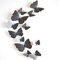 Объемные 3D бабочки на стену (обои) для декора (черные)