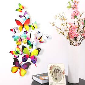 """Объемные 3D бабочки на стену (обои) для декора (разноцветные """"Радуга"""")"""