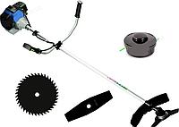 Бензокоса Витязь БГ-3700: 3,2 кВт/5 л.с., 8-9 тысяч об/мин, бак 1,2 л, катушка, 3 ножа 254 мм, ремень