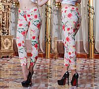 """Летние женские стильные лосины 3234 """"Цветочки"""""""