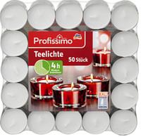 Profissimo Teelichte - Чайные свечи, 50 шт. до 4 часов горения