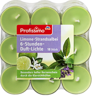 Profissimo 6h Duft-Lichte Limone-Strandsalbei - Cвеча ароматизированная с запахом лайма и шалфея, 18 шт.