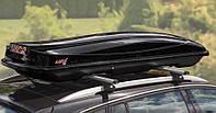 Автобокс Amos Travel Pack 500 чорний глянець / Аэробокс на крышу Амос 500 черный глянец, правосторонний, 440 л