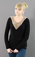 Черный свитер с бежевой вставкой