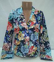 """Пиджак для девочек """"Цветы"""" котон р. 116,140"""