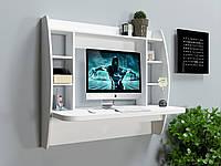 Стіл комп'ютерний  дерев'яний навісний AirTable-I WT білий