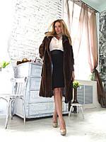Длинная норковая шуба с кожаными руками и поясом медный оттенок