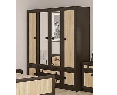 Шкаф 4Д2Ш ДАЛЛАС венге (Мебель-Сервис)
