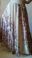 Шелковая сатиновая пышная юбка полусолнце купонные цветочки