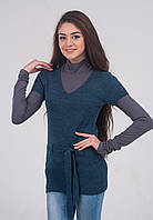 Удлиненный женский жилет 3015 джинс