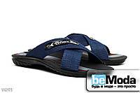 Оригинальные летние мужские сандалии Flex модного фасона из широких полос, перекрещенных на подъеме синие