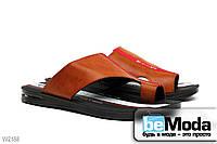 Мужские сандалии Flex из экокожи элегантного фасона коричневые с красными вставками посередине