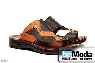 Изысканные мужские сандалии Wave Flex из экокожи с оригинальной фактурой в стиле пэчворк коричнево-бежевые