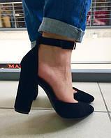 Туфли летние черные замш