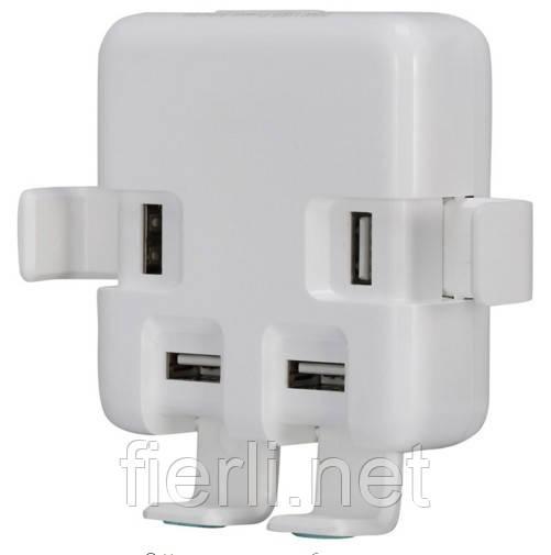 Адаптер питания- сетевое универсальное зарядное устройство на 4 USB порта