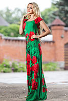 Женское летнее длинное платье с цветочным принтом