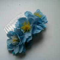"""Гребень пластиковый """"Голубые цветы"""""""
