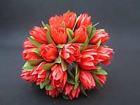 Тюльпан на проволочке, d 2 см, кораллового цвета