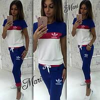 Костюм женский повседневный Adidas футболка и бриджи MIL71