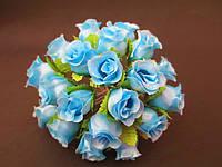 Роза на проволочке, d 2 см, голубого цвета
