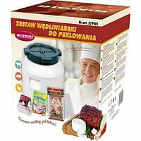Набор Biowin: селитра для засолки мяса, специи для маринования, бочонок, п/э пакеты на 10л, сетка 5м