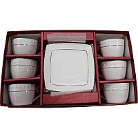Набор кофейный 12 предметов фарфоровый белый Снежная королева Interos 507006 AGIFT 90 мл