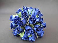 Роза на проволочке, d 2 см, синего цвета