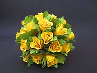 Роза на проволочке, d 2 см, желтого цвета