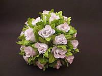 Роза на проволочке, d 2 см, белого цвета