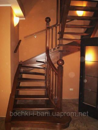 Лестница поворотная из ясеня, фото 2